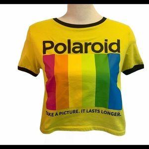 Polaroid logo yellow T-shirt size medium